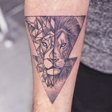 Geometric Triangle Abstract Lion Tattoo