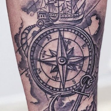 Compass Ship Anchor Circle Tattoo