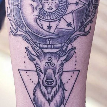 Sun Moon Stag Tattoo
