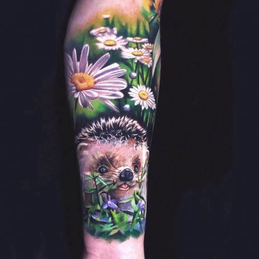 Nature porcupine tattoo