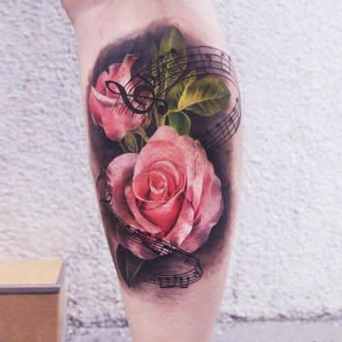Musical Note Rose Calf Tattoo