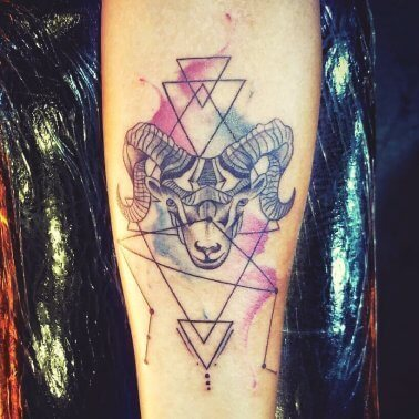 Geometric Water Colour Stag Tattoo