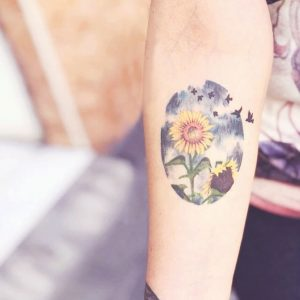 Abstract Circle Sunflower Tattoo