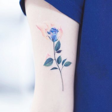 Watercolour Blue Floral Tattoo