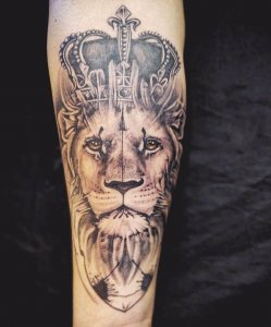 Abstract Lion Crown Portrait Tattoo