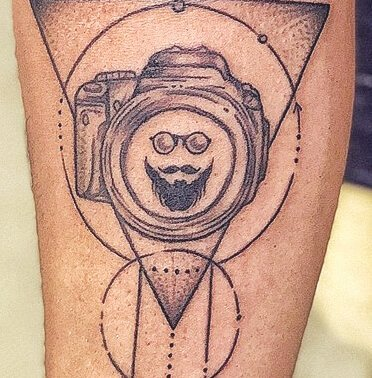 Abstract Geometric Camera Tattoo