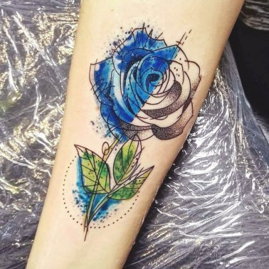 Watercolour Blue Rose Tattoo