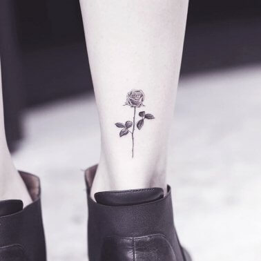 Minimalistic Rose Calf Tattoo