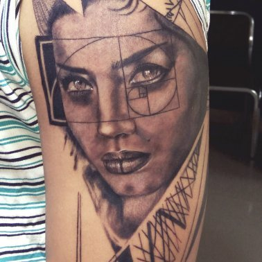 Abstract Realistic Portrait Tattoo