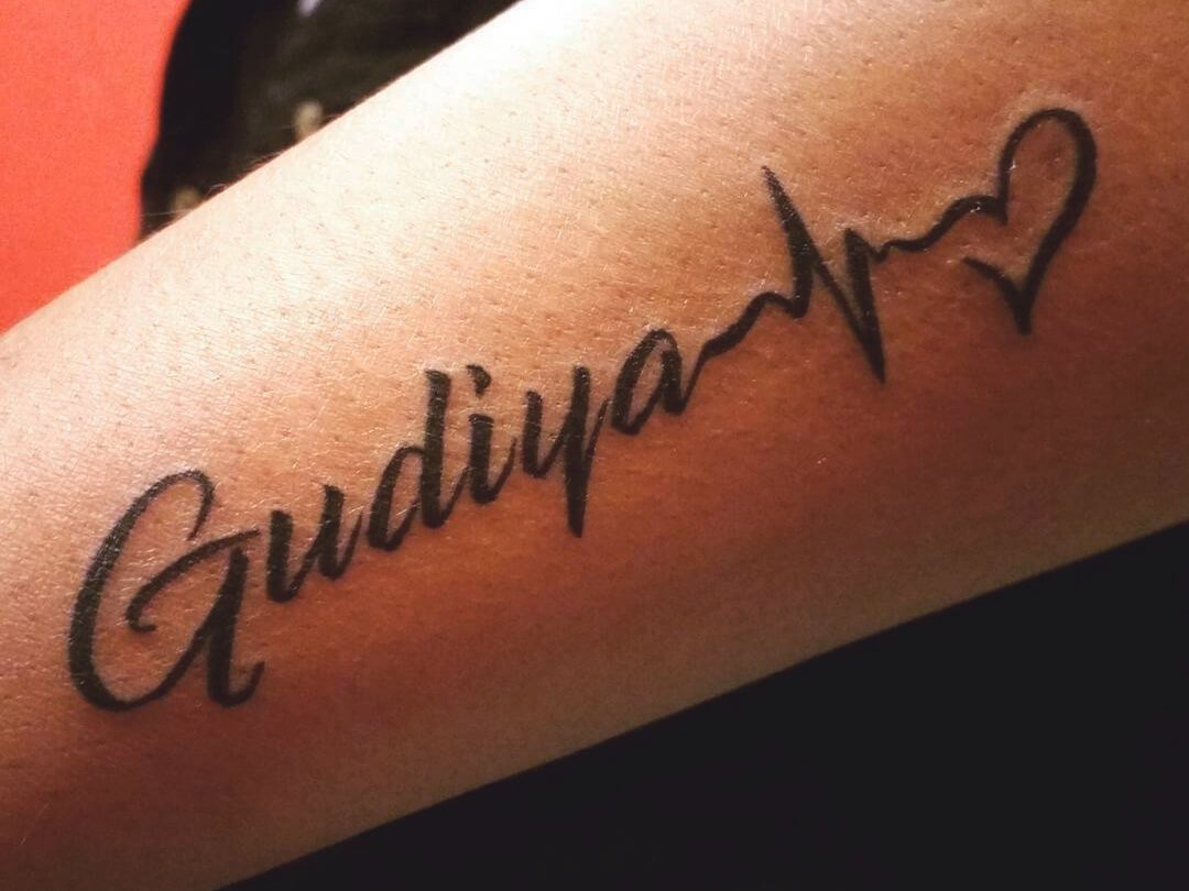 Infinity Heart Script Tattoo