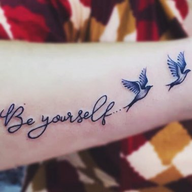 Script Bird Tattoo