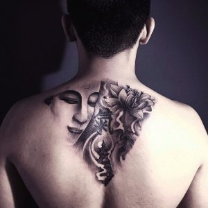 Abstract Floral Back Tattoo