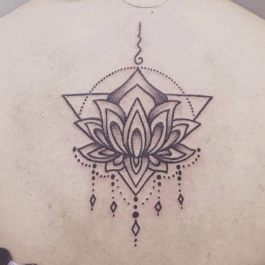 Traditional Lotus Back Tattoo