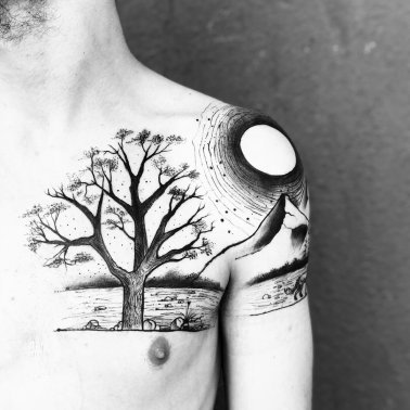 Nature Shoulder Tattoo
