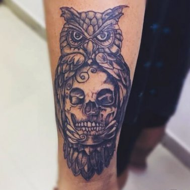 Abstract Owl Skull Tattoo
