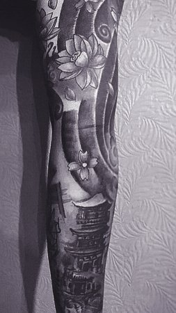 Abstract Full Sleeve Floral Tattoo