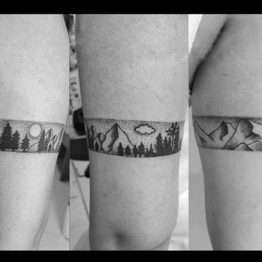 Black and White Nature Armband Tattoo