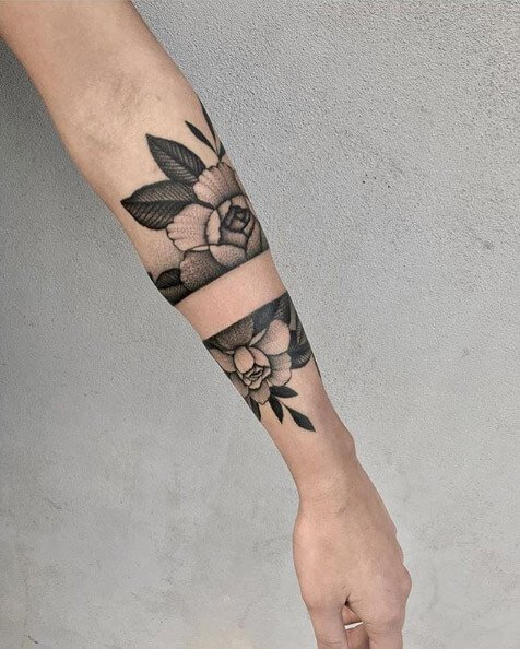 Abstract Floral Armband Tattoo