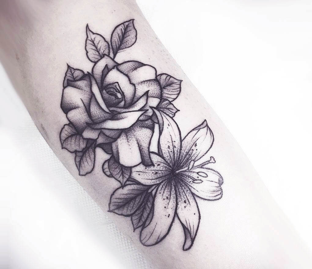 Lily Rose Forearm Tattoo