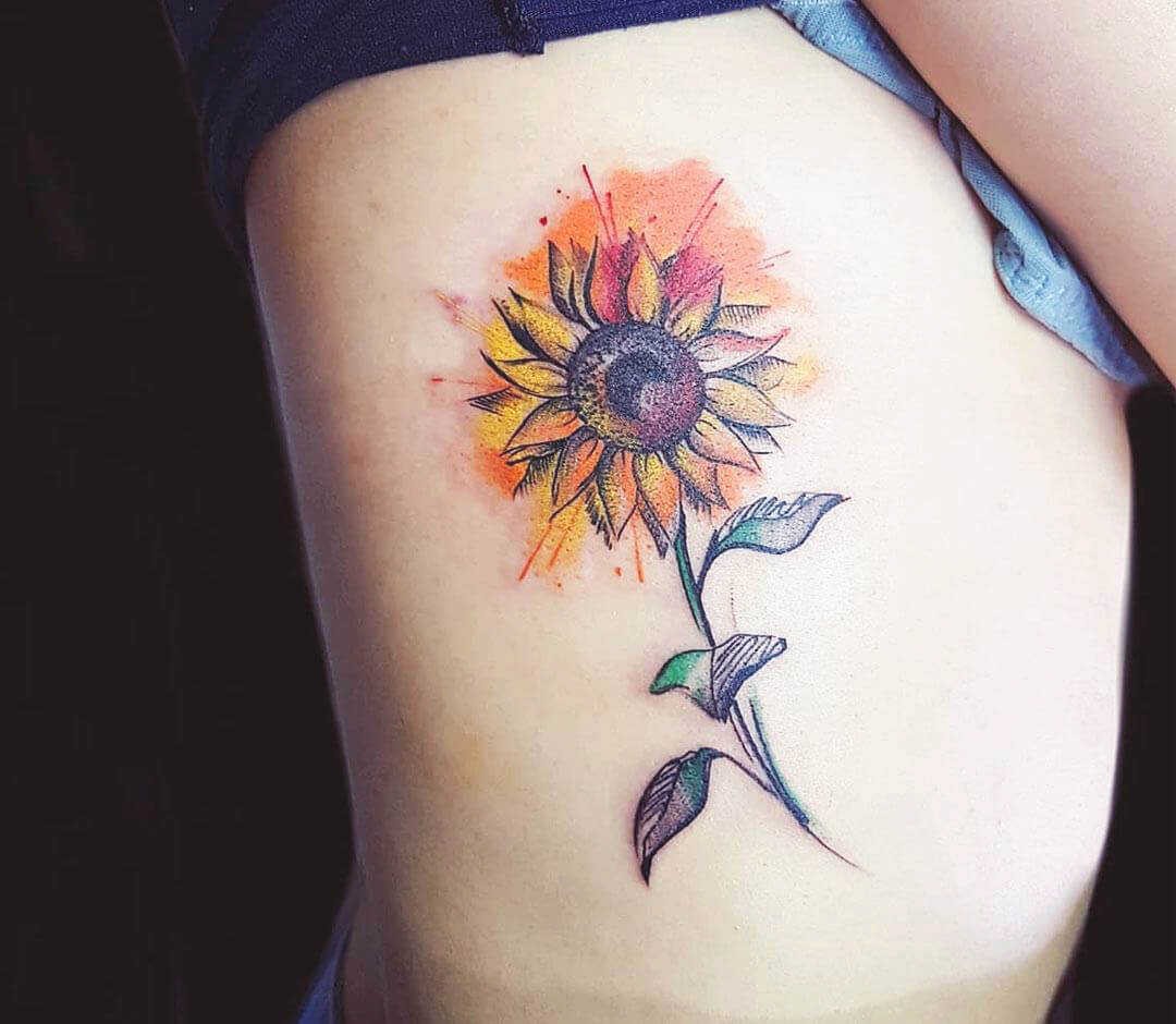 Sunflower Side Rib Tattoo