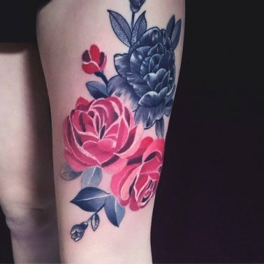 Floral Red Rose Thigh Tattoo