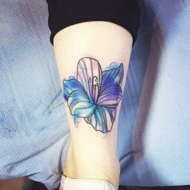 Blue Lily Ankle Tattoo
