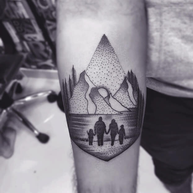 Black And White Family Tattoo