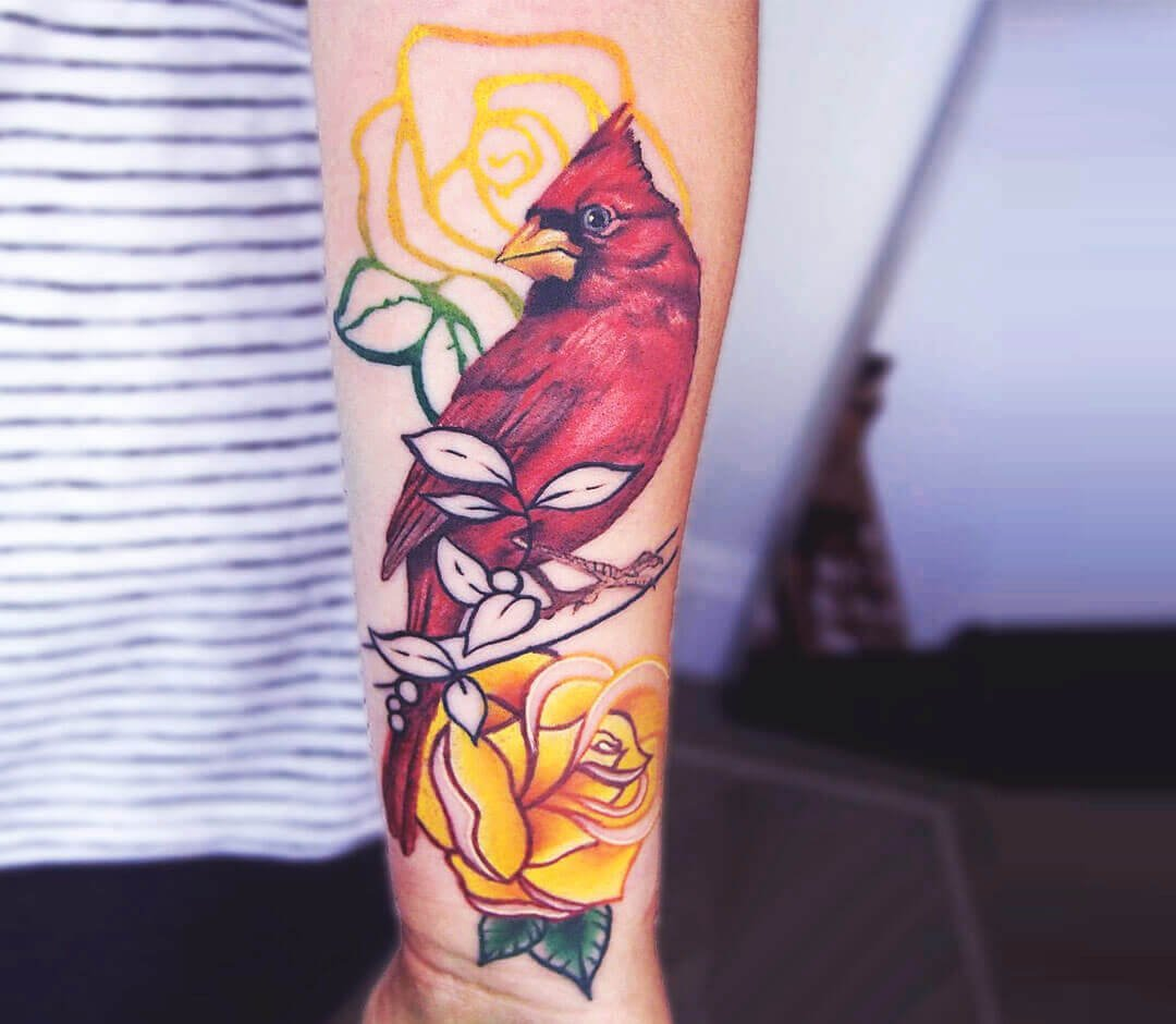 Red Bird Rose Tattoo