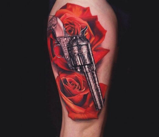 Floral Rose Gun Tattoo