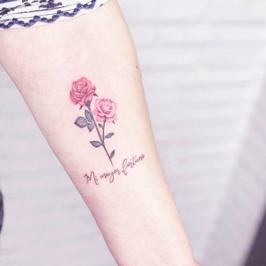 Minimalistic Pink Rose Tattoo