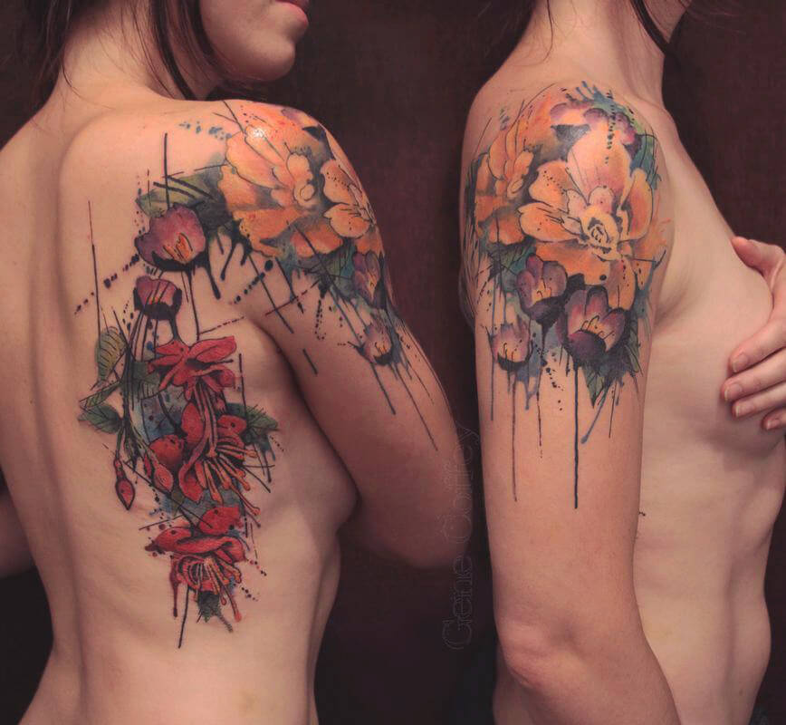 Abstract Floral Shoulder Tattoo