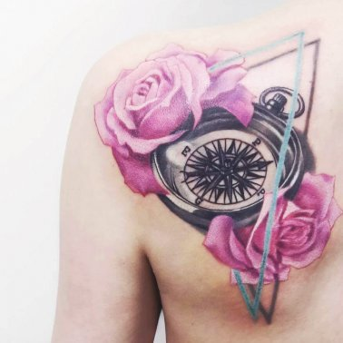 Floral Triangle Compass Tattoo