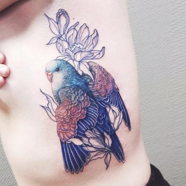 Floral Blue Parrot Rib Tattoo