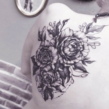 Rose cluster back tattoo