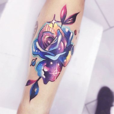Colourful Rose Tattoo