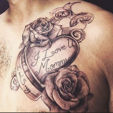 Floral Chest Mom Tattoo