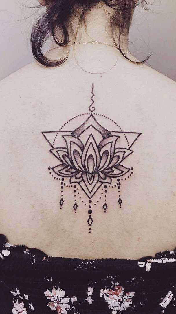 Ornamental Lotus Back Tattoo