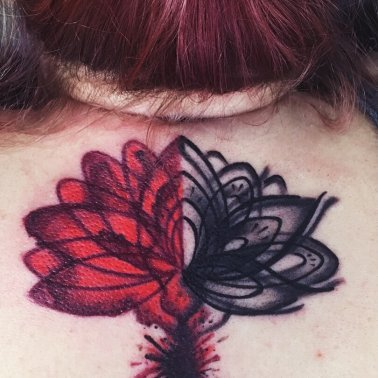 Lotus Back Neck Tattoo