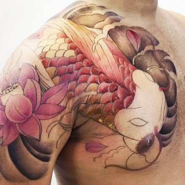 Floral Fish Tattoo