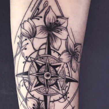 Floral Compass Geometric Forearm Tattoo
