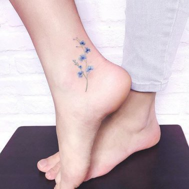 Minimalistic Floral Side Ankle Tattoo
