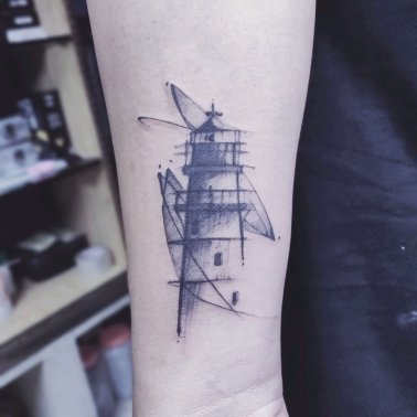 Minimalistic Light House Tattoo