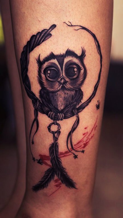 Surrealistic Owl Forearm Tattoo