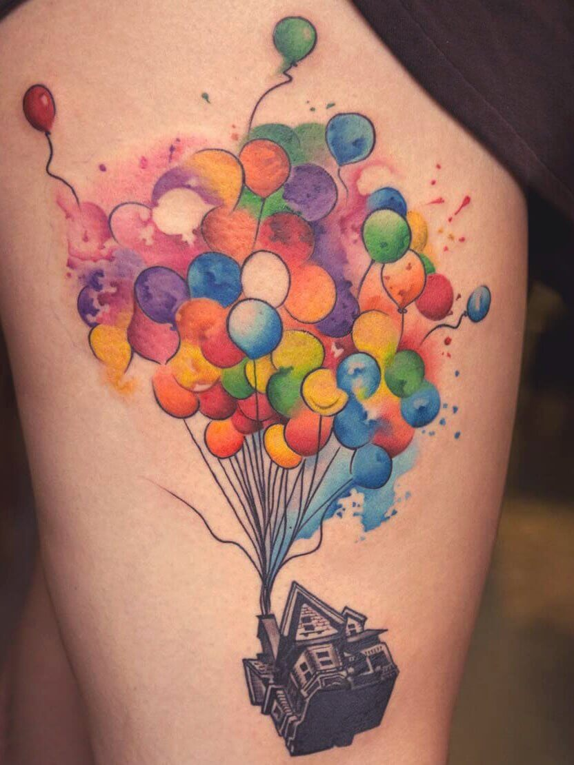 Surrealistic Colourful balloon house tattoo