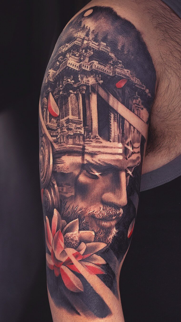 Greek God Shoulder Sleeve Tattoo