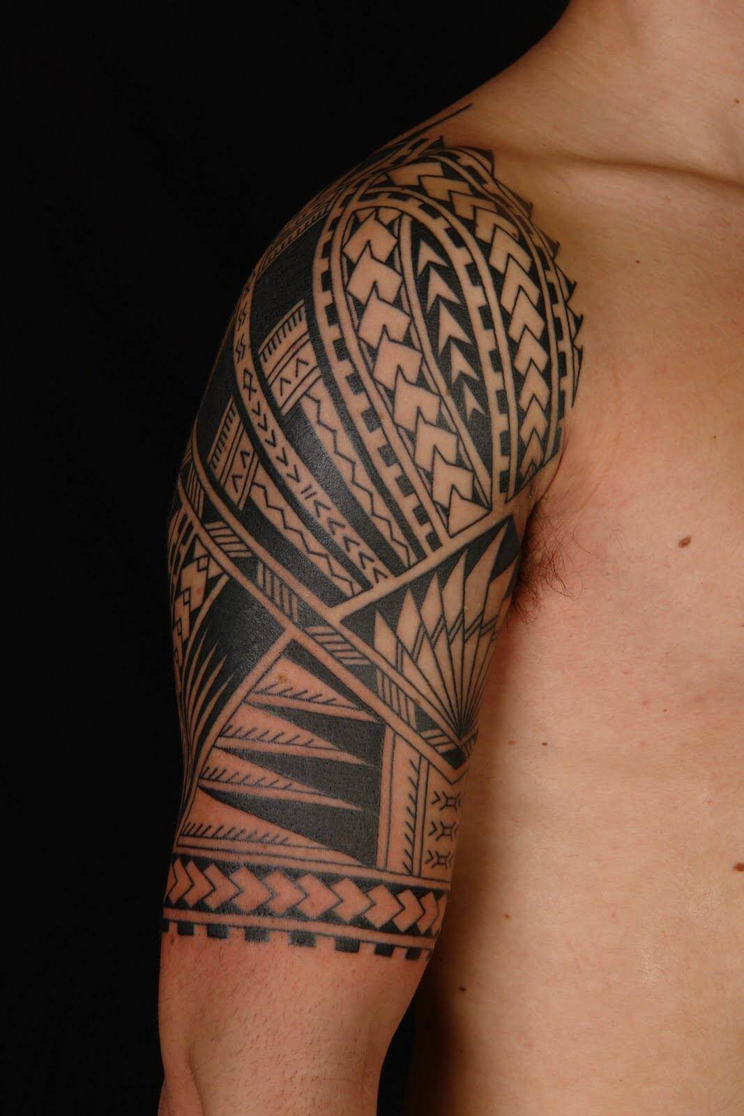 Tribal Shoulder Sleeve Tattoo