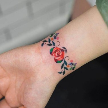 Floral Wrist Band Tattoo