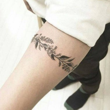 Floral Vine Band Tattoo