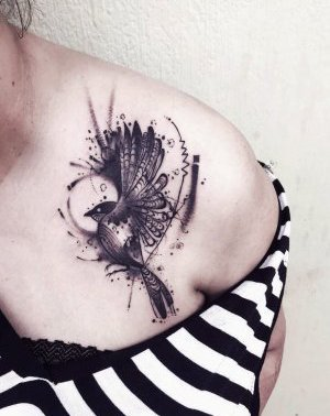 Surrealistic Bird Chest Tattoo