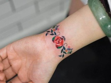 Floral Heart Wrist Tattoo